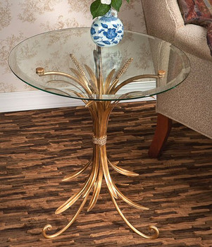 Antique Gold Iron Wheat Table with Beveled Glass