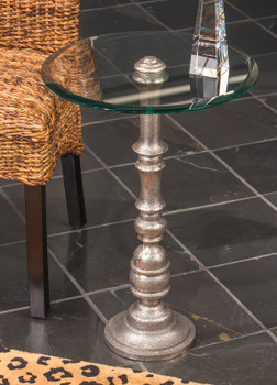 Nickel Rough Cast Pedestal Accent Table with Glass Top