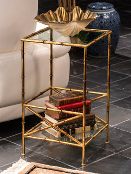 Antique Gold Bamboo Two Tier Iron Accent Table with Glass