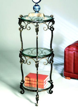 Three Tier Bronze Iron Acanthus Leaf Table with Beveled Glass