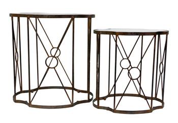 Antique Copper Quatrefoil Iron Accent Tables, Set of 2