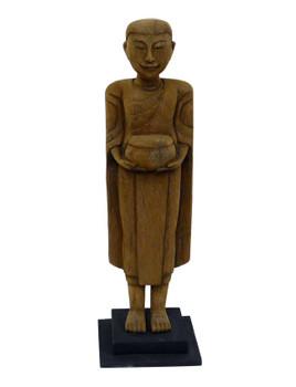 Thai Monk Wood Sculpture