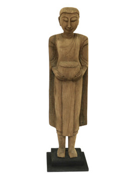 Large Thai Monk Wood Sculpture