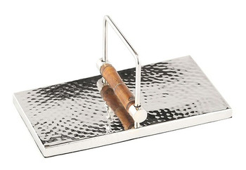 Nickel Steel and Bamboo Guest Towel Holders, Set of 2