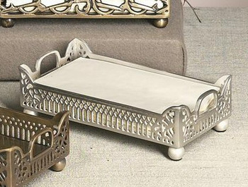 Antique Silver Gallery Guest Towel Tray, Set of 4