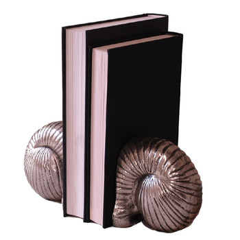 Nickel Snail Bookends, 2 Sets