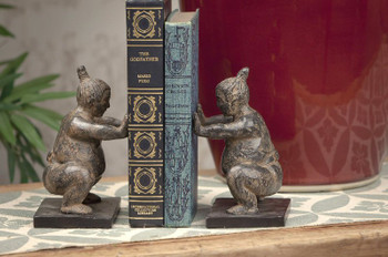 Stone Bronze Sumo Bookends, 2 Sets