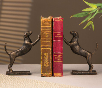 Leaning Hound Dog Bronze Iron Bookends, 2 Sets