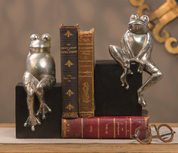 Antique Silver Frogs on Black Base Bookends