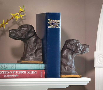 Bronze Iron Lab Dog Bookends, 2 Sets