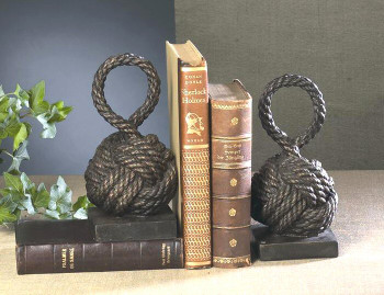 Bronze Iron Rope Knot Bookends, 2 Sets