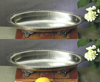 Antique Silver Oval Footed Centerpiece, Set of 2