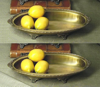 Antique Brass Oval Footed Centerpiece, Set of 2
