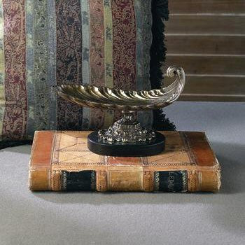 Antique Brass Scoop Centerpiece with Black Marble Base