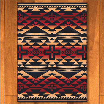 5' x 8' Rustic Cross Burnt Red Southwest Rectangle Rug