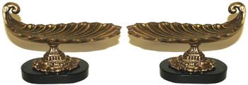 Antique Brass Scoop Centerpiece, Set of 2