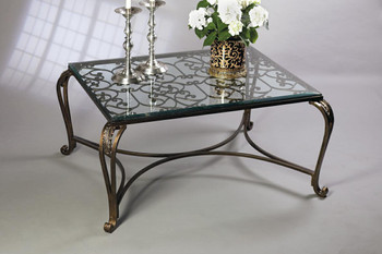 Bronze Iron Acanthus Leaf Coffee Table with Beveled Glass