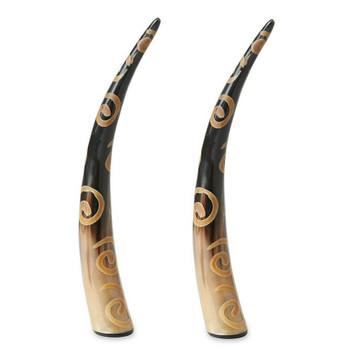 Natural Horn with Spiral Design Decorative Accent, Set of 2