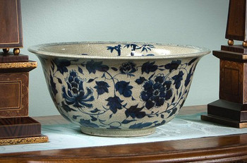 Porcelain Antiqued Blue and White Bowl