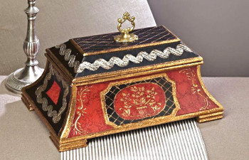 Red and Black Covered Wooden Box