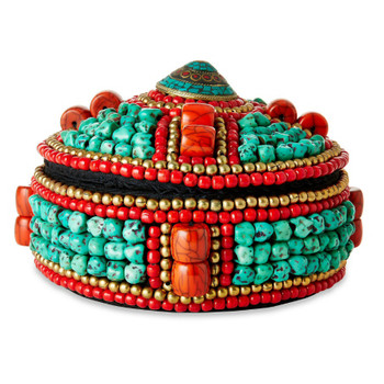 Red Beads and Turquoise Stone Round Beaded Decorative Box, Style 3