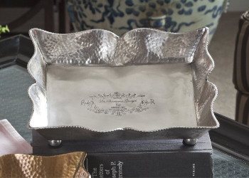 Antique Silver Rectangle Footed Brass Tray, Set of 2
