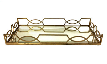 Antique Gold Quatrefoil Iron Tray with Beveled Mirror