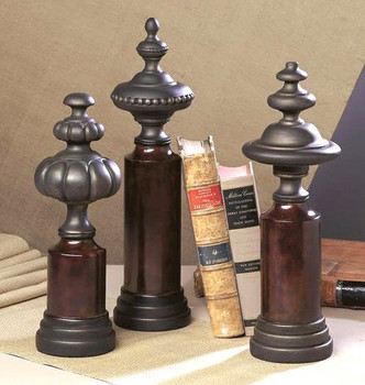 Three Bronze Resin Finials, Set of 3