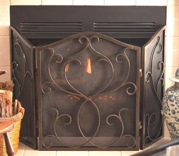 Bronze Flare Scroll Mesh Fireplace Screen