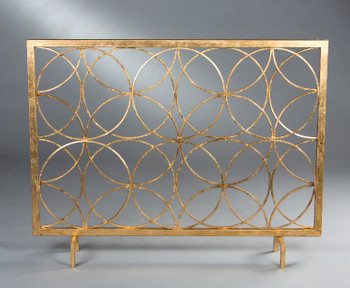 Antique Gold Circles Iron Fireplace Screen