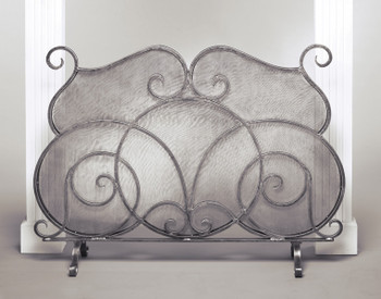 Pewter Fireplace Screen with Mesh Screen