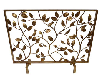 Antique Gold Bird Branch Iron Fireplace Screen