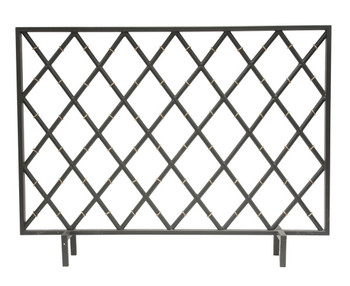 Black Bamboo Iron Fireplace Screen
