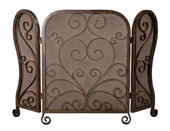Bronze Mesh Iron Scroll Fireplace Screen