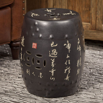 Black Chinese Calligraphy Porcelain Garden Seat