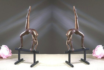 Bronze Iron Balance Beam Gymnast Sculpture, Set of 2