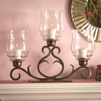 Bronze Three Light Flare Scroll Hurricane, Set of 2