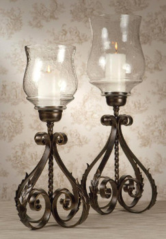 Bronze Iron Acanthus Leaf Hurricanes, Set of 2