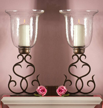 Bronze Flare Scroll Hurricane, Set of 2