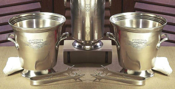 Antique Silver Ice Bucket with Tongs, Set of 2