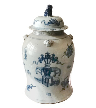Blue and White Covered Porcelain Tea Jar
