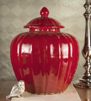 Porcelain Oxblood Covered Jar