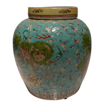 Teal Lion Porcelain Jar