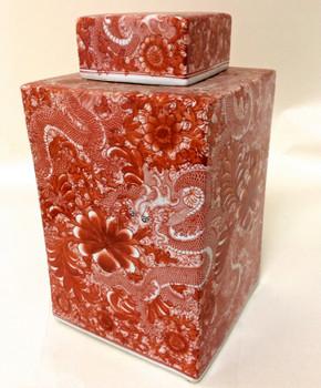 Cinnabar Square Porcelain Tea Jar