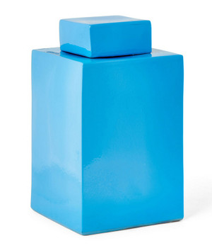 Teal Blue Square Porcelain Jar
