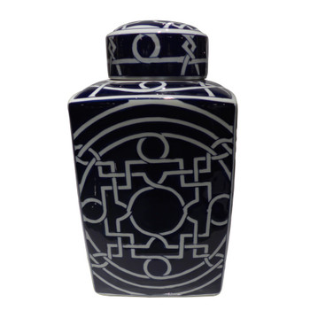 Dark Blue Geometric Porcelain Jar