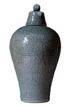 Celadon Embossed Meiping Porcelain Jar