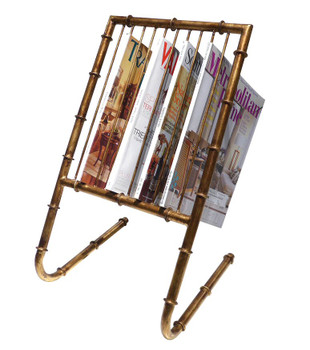 Antique Gold Iron Bamboo Ten Magazine Rack