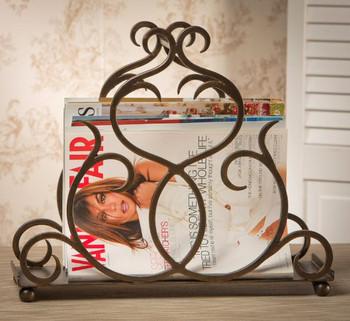 Bronze Flare Scroll Magazine Holder, Set of 2