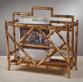 Antique Gold Iron Bamboo Magazine Rack